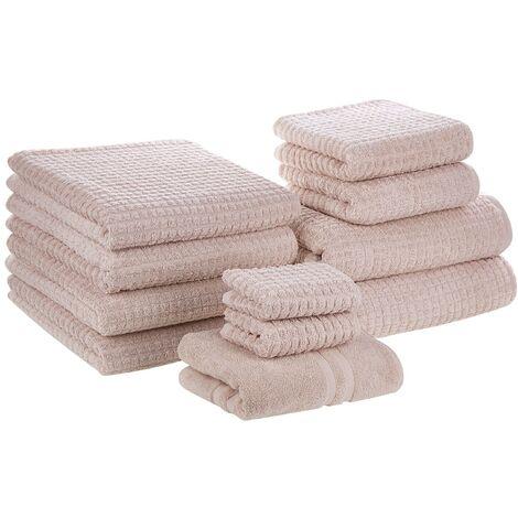 Conjunto de 11 toallas de algodón rosas ATAI