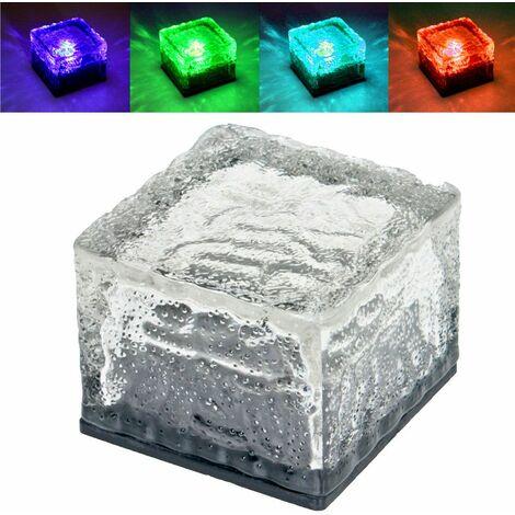 Conjunto de 12 RGB LED luces solares de vidrio patio al aire libre cambio de color cubo de piedra