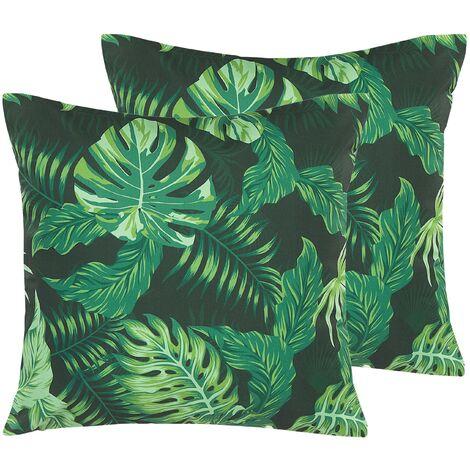 Conjunto de 2 cojines de jardín con motivo de hojas verde 45x45 cm FUNO