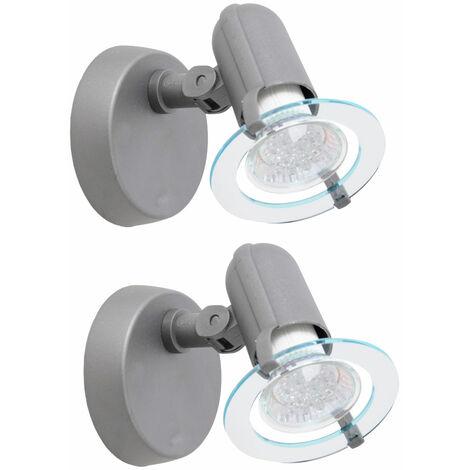 Conjunto de 2 de 3 vatios pared de la oficina de la lámpara lámpara de estudio foco de LED lámpara de lectura gris