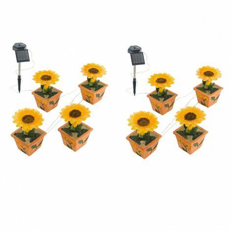 Conjunto de 2 de cuatro luces al aire libre iluminación de la lámpara LED solar jardín de flores