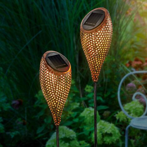 Conjunto de 2 decoraciones solares de jardín con LED blanco cálido esotec 102371