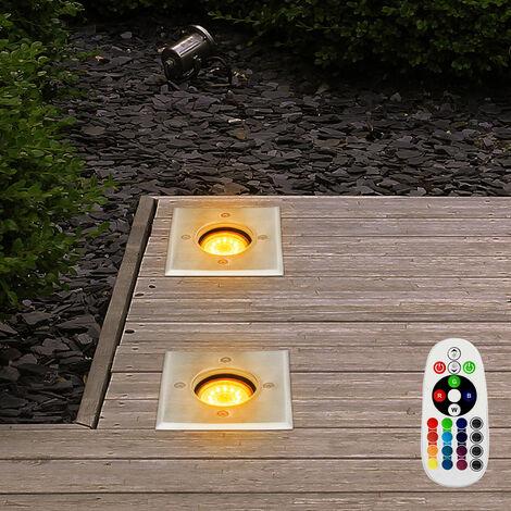 Conjunto de 2 focos empotrables en el suelo LED RGB luces exteriores de control remoto luces dimmer de acero inoxidable transitables