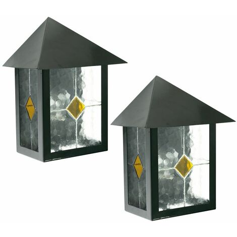 Conjunto de 2 Lámpara de pared exterior terrazas balcón de la iluminación lámparas Tiffany vidrio decorativo de la hoja 1