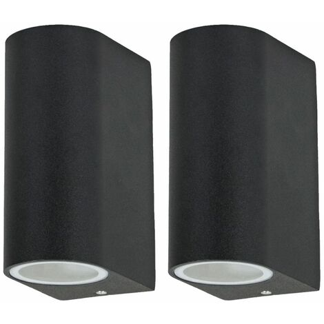 Conjunto de 2 lámpara de pared para exterior terraza parque lámpara arriba abajo iluminación aluminio negro