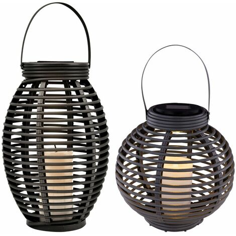 Conjunto de 2 lámparas colgantes solares LED ratas mimbre terrazas de jardín velas luces de pie al aire libre