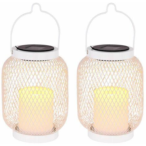 Conjunto de 2 LED lámpara colgante solar soporte linterna blanco jardín decoración rejilla mesa proyector iluminación exterior efecto de fuego