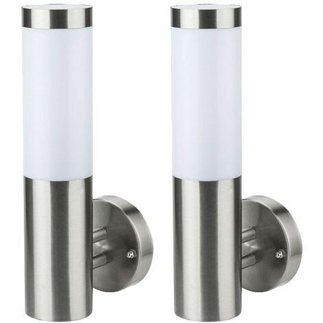 Conjunto de 2 luces de pared LED para exteriores fachadas de acero inoxidable focos iluminación de jardín lámparas de patio