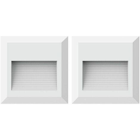Conjunto de 2 luces de pared LED que iluminan las escaleras exteriores foco de luz blanca que se eleva VTAC 1321