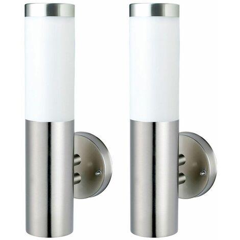 Conjunto de 2 luces exteriores de pared de acero inoxidable EEK A + lámparas de terraza en un conjunto que incluye bombillas LED de 6.5 vatios