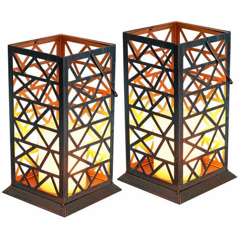 Conjunto de 2 luces solares LED de pie luces balcón efecto de fuego lámparas de exterior linterna