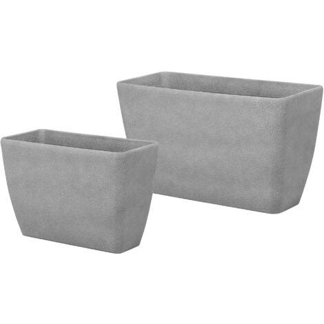 Conjunto de 2 macetas gris BARIS