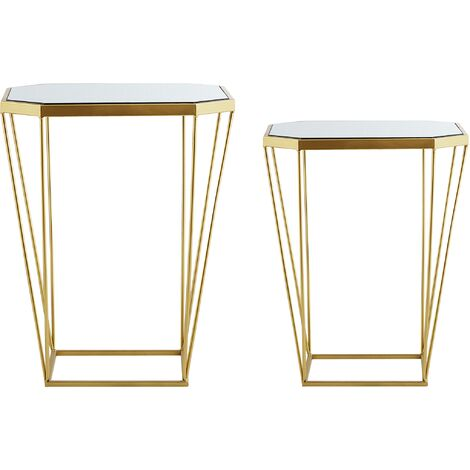 Beliani Conjunto de 2 mesas auxiliares Espejo//Dorado Olympia
