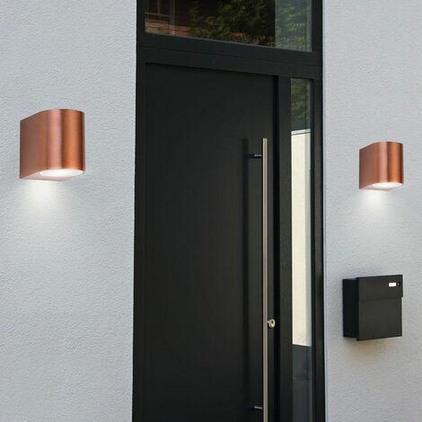Conjunto de 2 radiador de pared exterior de aluminio abajo se enciende lámparas de cobre punto fachada luces del porche