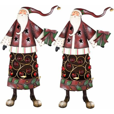 Conjunto de 2 Santas piedras decorativas de pie bombilla de la lámpara de metal efecto de Navidad