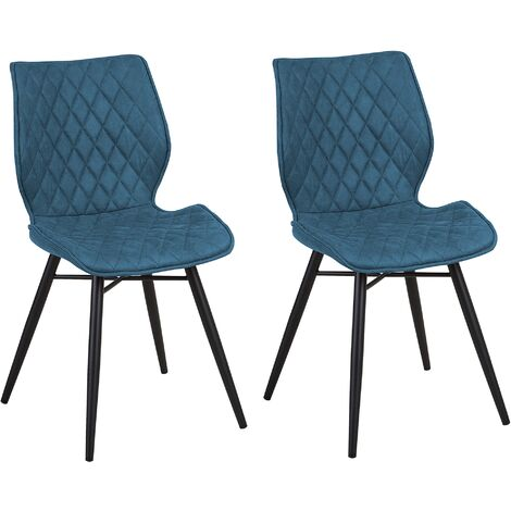 Conjunto de 2 sillas de comedor azul marino LISLE
