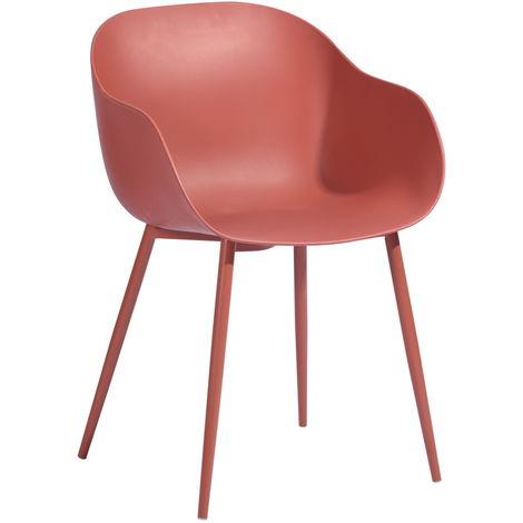 Conjunto de 2 sillas de comedor escandinavas de plástico rojo