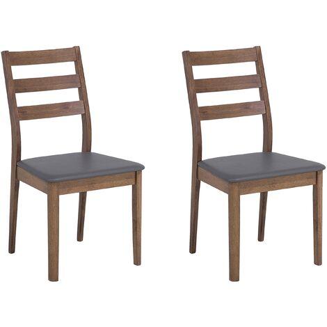 Conjunto de 2 sillas de comedor marrón-gris MODESTO