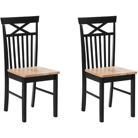 Conjunto de 2 sillas de comedor negro/marrón HOUSTON