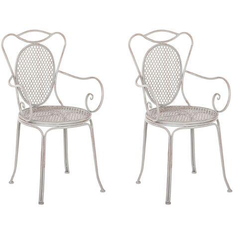 Conjunto de 2 sillas de jardín de metal gris CILENTO