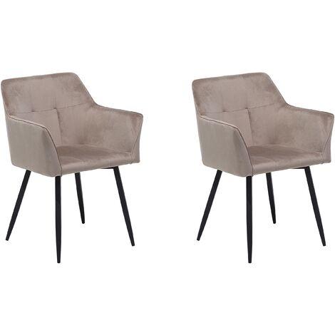Conjunto de 2 sillas en terciopelo beige-gris JASMIN
