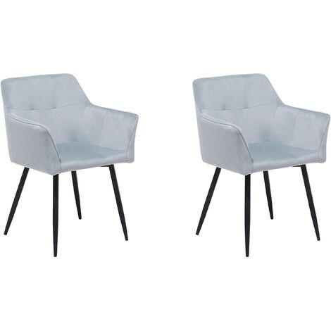 Conjunto de 2 sillas en terciopelo gris claro JASMIN