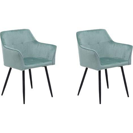 Conjunto de 2 sillas en terciopelo verde menta JASMIN