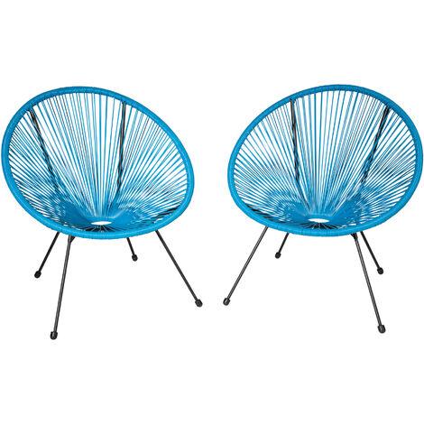 Conjunto de 2 sillas Gabriela - sillas tipo acapulco, sillas de hilos elásticos estilo retro ligeras, asiento cómodo estable de acero