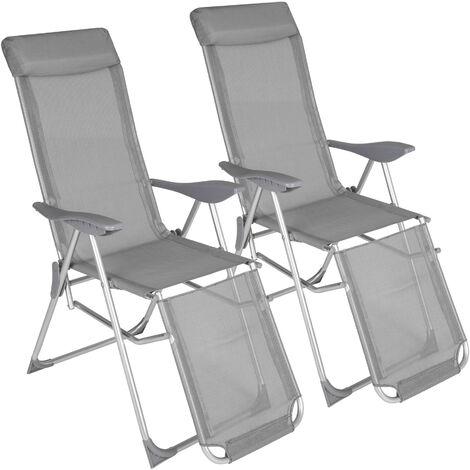 Conjunto de 2 sillas plegables Jana - mueble de terraza plegable, silla con estructura de aluminio y malla sintética, asiento ajustable con reposacabezas - gris