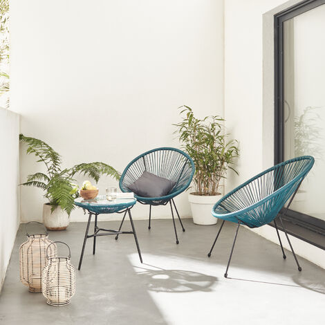 Conjunto de 2 sillones en forma de huevo ACAPULCO con mesa auxiliar - Negro - Sillones de diseño retro de 4 patas, con mesa de centro, cordón de plástico, interior / exterior - Nero