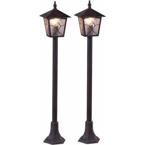 Conjunto de 2 Stand luces de las linternas trayectoria al aire libre jardín lámparas de iluminación de piso terrazas de aluminio