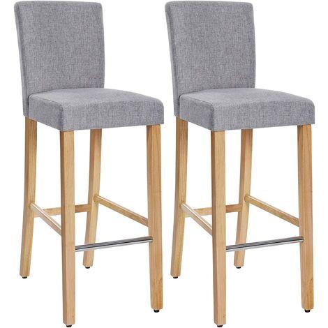 Conjunto de 2 taburetes de bar, Silla acolchada tapizada en tela de lino, Altura del asiento de 76 cm, Patas altas de madera maciza