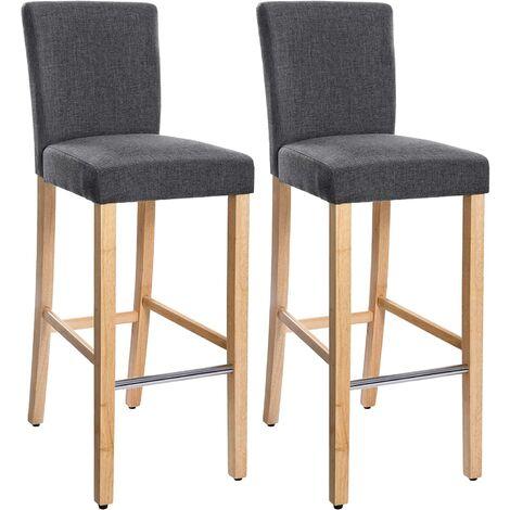 """main image of """"Conjunto de 2 taburetes de bar, Silla acolchada tapizada en tela de lino, Altura del asiento de 76 cm, Patas altas de madera maciza"""""""