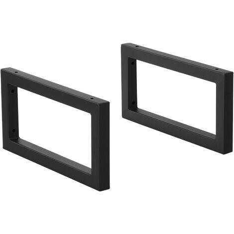 Conjunto de 2 x Patas para Muebles para Pared - 40 x 20 cm - Set de 2 x Patas de Mesa - Acero - Consola - Mesa de comedor - Armazón de Muebles - hasta 50 kg - Negro mate