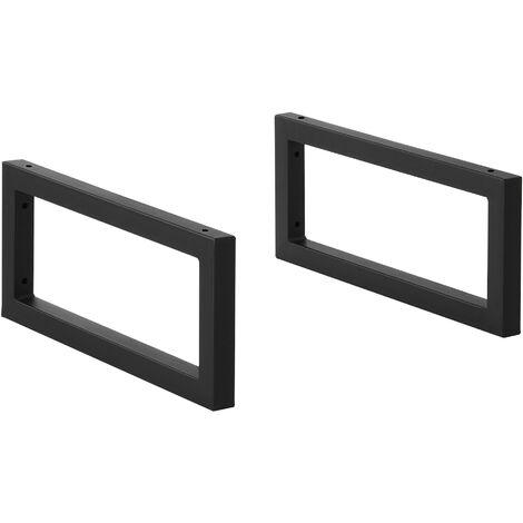 Conjunto de 2 x Patas para Muebles para Pared - 45 x 20 cm - Set de 2 x Patas de Mesa - Acero - Consola - Mesa de comedor - Armazón de Muebles - hasta 50 kg - Negro mate
