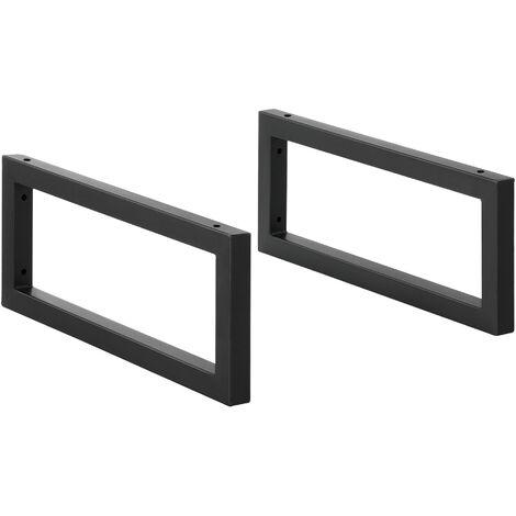 Conjunto de 2 x Patas para Muebles para Pared - 50 x 20 cm - Set de 2 x Patas de Mesa - Acero - Consola - Mesa de comedor - Armazón de Muebles - hasta 50 kg - Negro mate