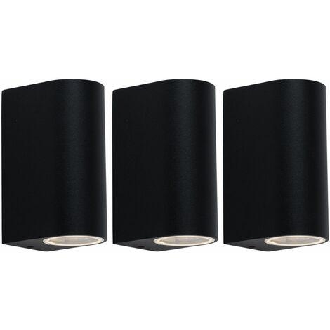 Conjunto de 3 ARRIBA ABAJO delante del radiador entrada de la puerta de encender luces de pared ALU fachadas negras lámparas IP44