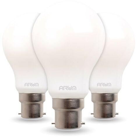 Conjunto de 3 bombillas LED 7W Eq 60W Standard satinado B22 | Temperatura de color: Blanco cálido 2700K