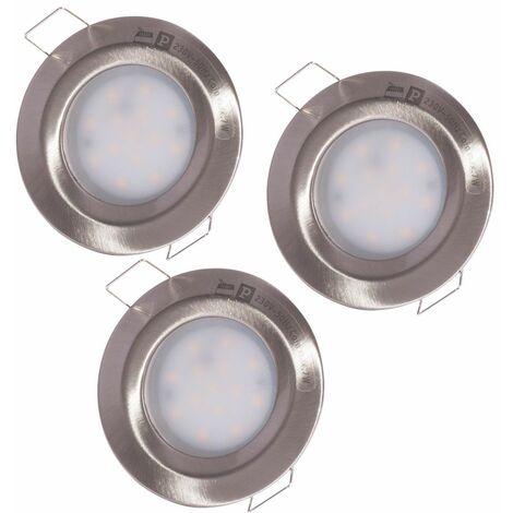 Conjunto de 3 focos LED empotrados en el techo ALU luces baño comedor lámparas spot Paulmann 938.60