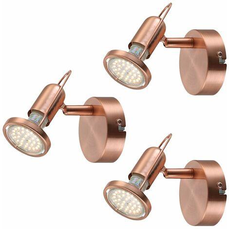 Conjunto de 3 LED apliques comedor lectura Foco orientable lámparas de cobre