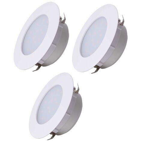 Conjunto de 3 LED empotrable lámpara foco blanco salón iluminación techo lámpara redonda