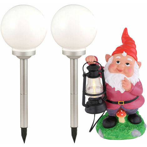 Conjunto de 3 LED Luces solares Butterflies Garden Dwarf Plug Lamps Esfera al aire libre Focos Decoración