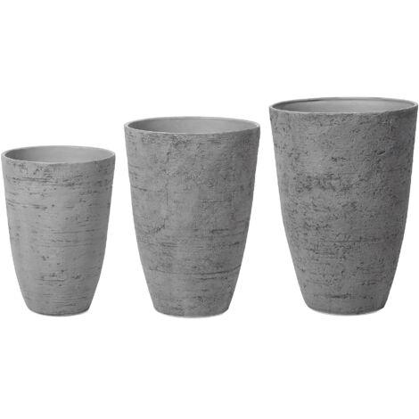 Conjunto de 3 macetas grises CAMIA