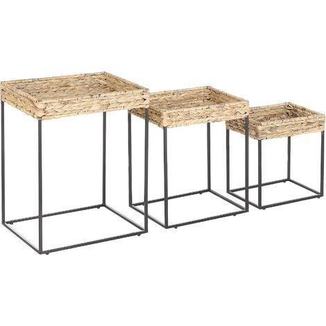 Conjunto de 3 mesas auxiliares madera clara/negro HAWI