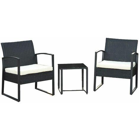 Conjunto de 3 muebles de jardín, Mueble de jardín de ratán, para balcón terraza al aire libre, Fácil montaje, 2 sillas y 1 mesa de centro, Negro GGF010B01 - Negro