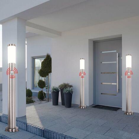 Conjunto de 3 Soporte para exteriores Luz Balcón Patio Patio Acero inoxidable Proyector Detector de movimiento IP44