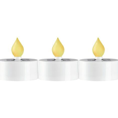 Conjunto de 3 velas led blancas solares
