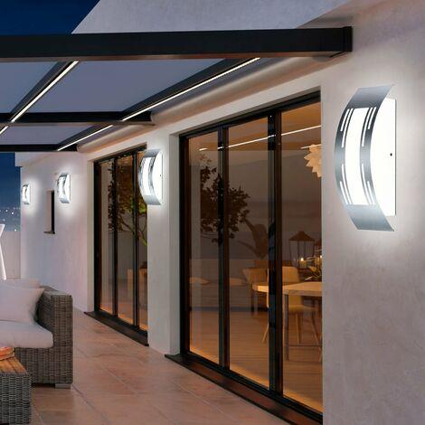 Conjunto de 4 LED lámparas de pared al aire libre jardín balcón luces de acero inoxidable decoración troquelado