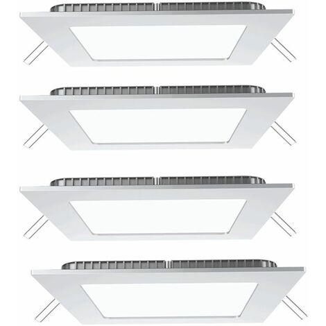 Conjunto de 4 rejillas de techo empotradas LED aluminio blanco comedor pared luces de ahorro de energía cuadrado