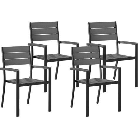 Conjunto de 4 sillas de jardín grises PRATO